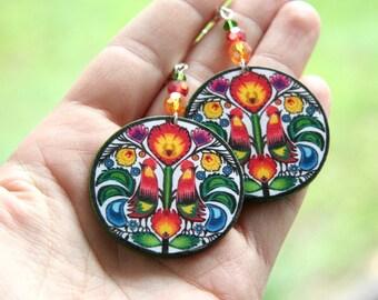Polish folk earrings, Polish folk art, Polish earrings, Earrings with birds