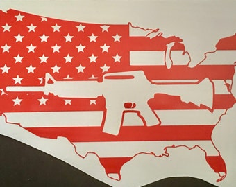 Us Map With Gun Decal