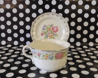 Extra Special~Cup and Saucer~Cross Stitch Flower Bouquet~Silver Lace Edging~Eggshell Nautilus~USA~B49N5