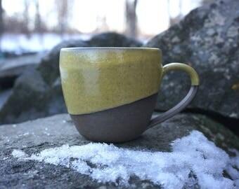Yellow CHOCOLATE Exposed Mug ~ Handmade in Studio ~ Ready to ship !!!