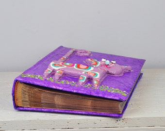 Purple Family Pockets Album, Large Baby Photo Album, Pockets photo album, Paper Mache art, Kids first Birthday Gift, toddlers Photo Album