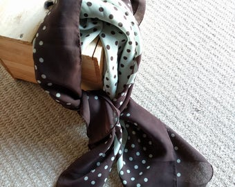 Vintage chocolate brown polka dot scarf wrap made in Japan 35in sq