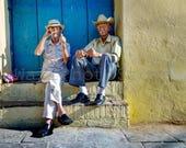 Cuba Photography, Two Old Cuban Men with Cuban Cigars, Travel Photography, Cigar Art, Fine Art Photography, Cuba Print Art, Wall Art Print