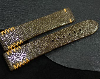 Polished stingray strap handmade in Vietnam for Omega Seamaster Planet Ocean #CD0452