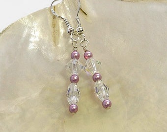 Swarovski Crystal and Pearl Earrings | Maid of honour earrings | Pearl and Crystal Bridal Earrings | Clear Crystal Dangly Earrings A0457