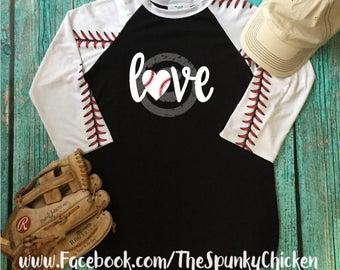 Ladies Baseball Love XOXO Raglan Shirt