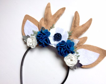 Christmas Reindeer Antlers and Ears Headband - glitter blue, white and polka dot silver blossoms with silver and green leaves - holiday