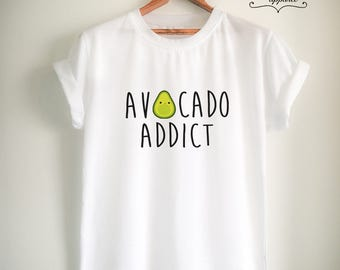 Vegan Shirt Vegan T Shirt Avocado Shirt Avocado T Shirt Avocado Addict Shirt Vegan Merch Women Girls Men Unisex Vegetarian Top Tee
