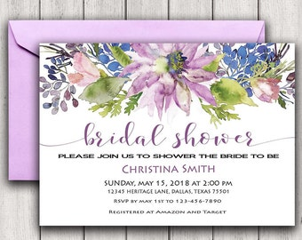 Floral Bridal Shower Invitation Purple Bridal Shower Invite, Flower Bridal Shower Invitation, Watercolor Bridal Shower Invitation, Boho inv