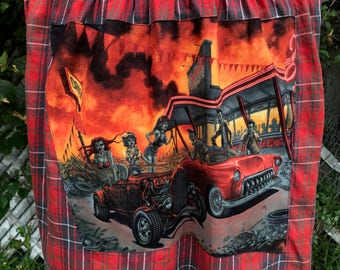 Hot Rod Rockabilly Shirt Rat Rod 50's Drive Inn Zombies Pin Up Shirt Eco Upcycled Size XL