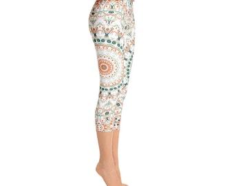 Capris - Mid Rise Mandala Print Leggings, Stretchy Yoga Pants, Orange and Green Bohemian Leggings, Pattern Tights