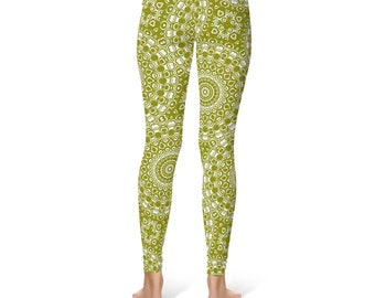 Olive Green Yoga Pants - Mandala Yoga Wear, Printed Workout Leggings