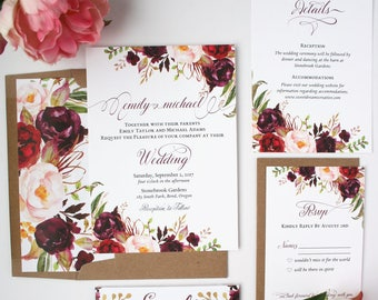 Burgundy Wedding Invitations - Burgundy & Blush - Wedding Invitations - Rustic Script Collection Deposit