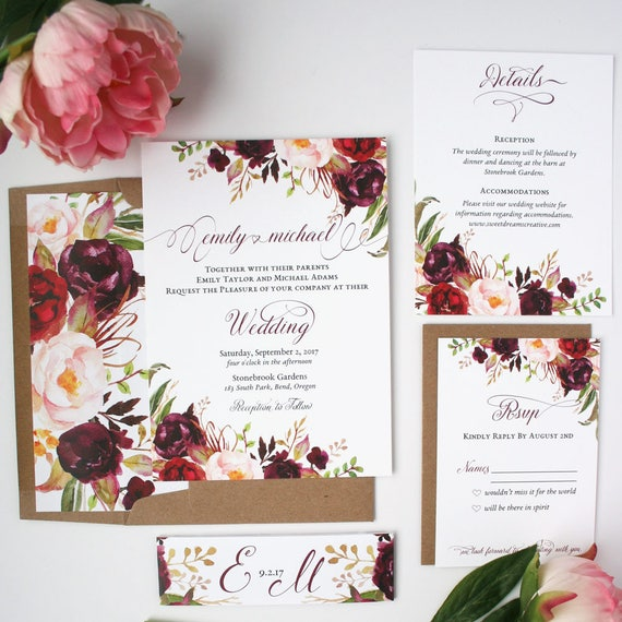 burgundy wedding invitations burgundy blush wedding With burgundy wedding invitations online