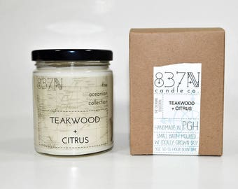9 oz., Teakwood + Citrus, Soy Scented Candle, Travel, Oceanian