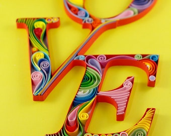 Typography Love Word Handmade Quilling Paper Wall Art Room Decor Gift