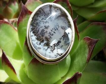 beautiful boho.piedra of pode.cabujon dendrita.joyeria ley.plata 925.mujer silver Opal ring boemia, hippie, elegante.especial gift