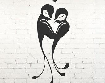 Love Birds with Hearts - Vinyl Wall Decal, Sticker, Transfer, Stencil