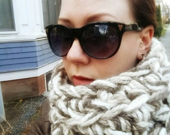 Tompkins Square Cowl // Wool Neck Warmer // Marled Cowl // Wool Undercoat Scarf // Neutral Tone Cowl // Gifts for Her // Winter Fashions