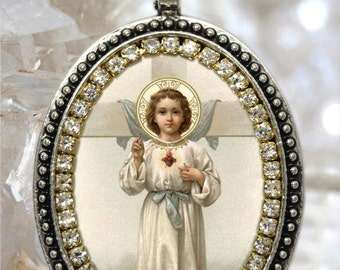 Holy Child Jesus Miraculous Divine Handmade Necklace Religious Christian Jewelry Medal Pendant Infant, Nino Jesus
