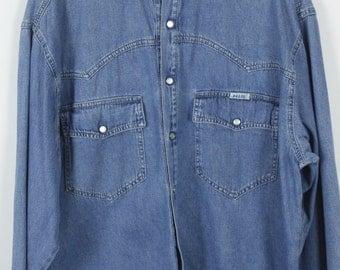 Vintage HIS jeans shirt - denim - long sleeves - oversized