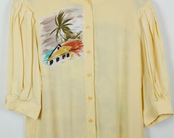 Vintage shirt, 80s clothing, shirt 80s, tropical print, oversized