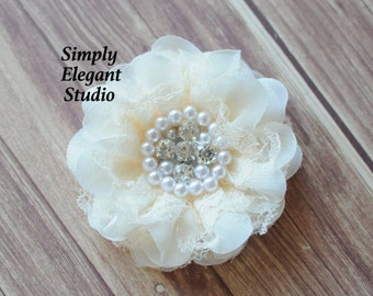 Ivory Lace & Chiffon Flowers with Pearls and Rhinestones, Chiffon Ruffled Fabric Flowers, Flowers For Baby Hair Accessories