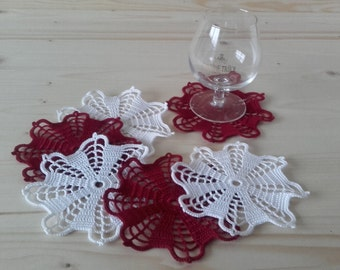 Mini Doilies, Set Of 6 Crochet Mini Doilies, Crochet Lace Doilies, Crochet Mini Doilies, Table Decor Doilies, Handmade Doilies