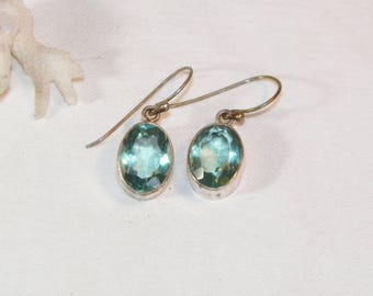 Sterling Silver Aqua Marine? or Blue Topaz? Earrings, 925 Dangle Gemstone Earrings
