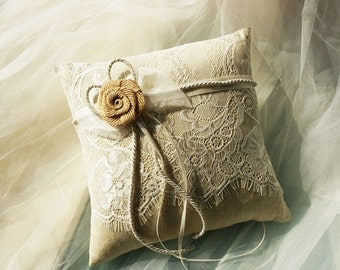 Lace rustic wedding pillow | Flower wedding ring pillow | ring bearer pillow with flower | beach wedding decor barn wedding ring pillow