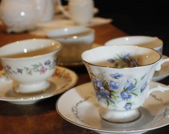 Tea Party Set of Coordinating Cups and Saucers -008