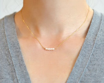 Dainty Gemstone Bar Necklace, Small Gemstone Bar Necklace, 14K Gold Fill, Sterling Silver, Rose Gold  Mini Gemstone Bar Layering Necklace