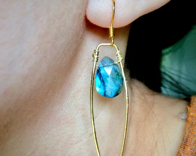 Blue Labradorite Hammered Brass Geometric Drops