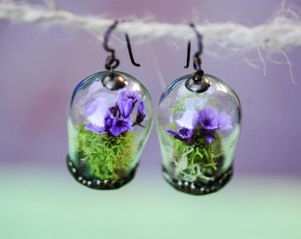Terrarium jewelry, Real moss, Flower earrings, Statice flower,Romantic jewelry, real flower earrings, fairy garden, gifts for her