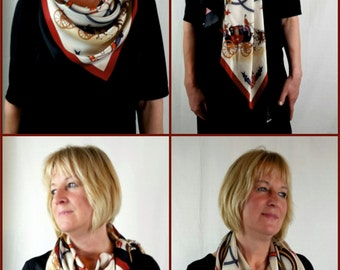 Designed exclusively for Preservation Society of Newport County - Horses, carriage motif silk scarf in red, orange, white, brown and black