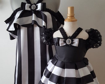 Mother Daughter Matching Dress, Mommy and Me Dress, Matching Daughter Dress,Mother and Daughter Outfit, Girls Black White Dress, Pupolino.
