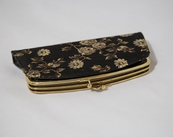 Vintage Black and Gold Clutch Wallet Purse