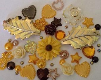 Leaf flower mix flatbacks mix pearls gems cabachon card making scrap booking embellishments