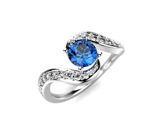 Genuine Blue Diamond Ring White Gold Blue Diamond Engagement Ring Blue Diamond Engagement Ring Genuine Blue Diamond White Gold Ring