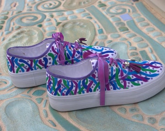 Sea Vines Custom Painted Platform Sneakers/Personalized Sneakers/Canvas Boat Shoes/Colorful Custom Sneakers/Boating Shoes/Under the Sea Life