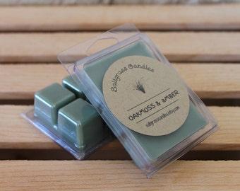 Oakmoss & Amber Wax Melts - Soy Blend Wax - Wax Cubes - Wax Tarts - Hand Poured - Gift Idea