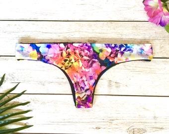 Brazilian Thong Bikini Bottom //  Scrunch Bottom Brazilian Bikini // Seamless Bikini Floral Swimwear // Cheeky Bikini