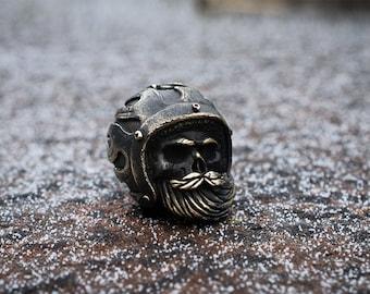 Biker skull lanyard beads - Paracord lanyard beads of bronze «Skull in helmet». Big, heavy beads are handmade with unique designs!