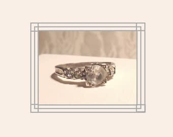 Antique Engagement Ring, Sterling Silver 5-stone Ring, Signed 1930s Ring, French Paste Engagement Ring, Classic Engagement Ring.