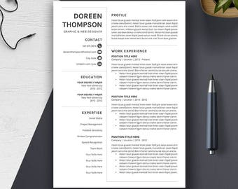 Professional Resume Template, 1, 2, 3 Page Word Resume, CV Template, Cover Letter, Creative Modern Teacher Resume, A4 US Letter, DOREEN