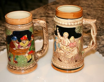 Set of Two German Style Beer Steins//Made in Japan//Home Bar Decor//Vintage Beer Steins