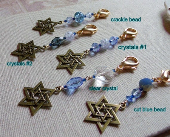 Star of David  blue zipper pull - wristlet accessory - bronze star charm - hanukkah jacket - tote - planner - Jewish memento , Lizporiginals