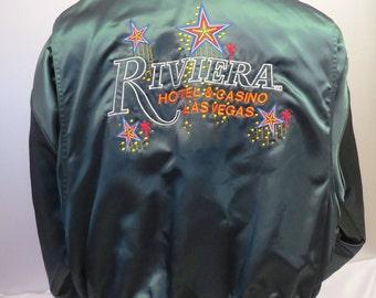 Vintage Casino Jacket - Riviera Players Club - 100% Satin - Men's Extra Large