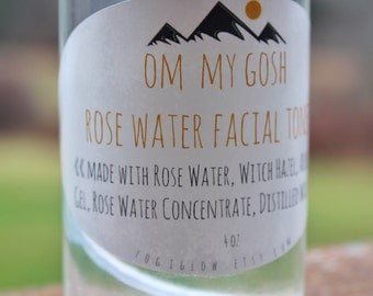 Om My Gosh Rose Water Facial Toner. Natural Skincare. Witch Hazel Facial Toner. Yoga. Aum.