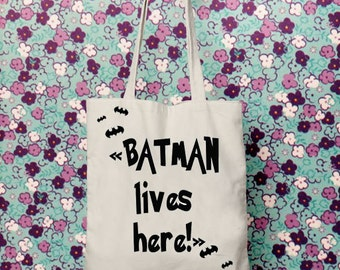 Printed tote bag, Shopping bag, Gift for mother, Batman, Shoulder bag, Reusable Bag, Quote, New mother gift, Superhero, Toys, Gift for wife